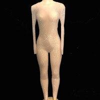 Ночной клуб Серебряный комбинезон со стразами большой стрейч прозрачное обтягивающее Женское боди сценическая Одежда для танцев, сценичес