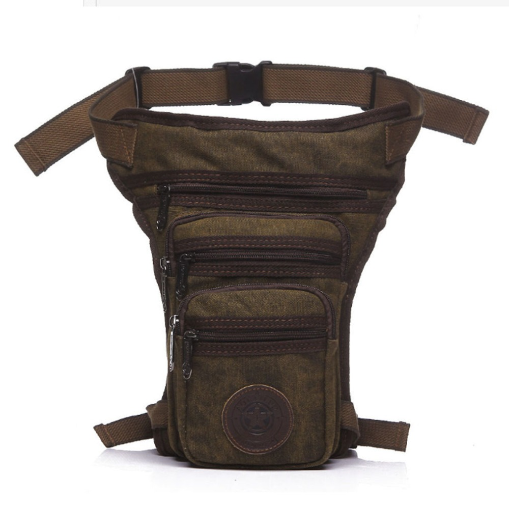 Men's Waterproof Canvas Waist Drop Leg Bag Fanny Pack Thigh Hip Bum Belt Motorcycle Military Tactical For Travel Riding Hiking