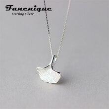 925 Fashion Silver Solid Hoja De Ginkgo Mujeres Colgante Collar de la Joyería de Plata Pura Envío Gratis