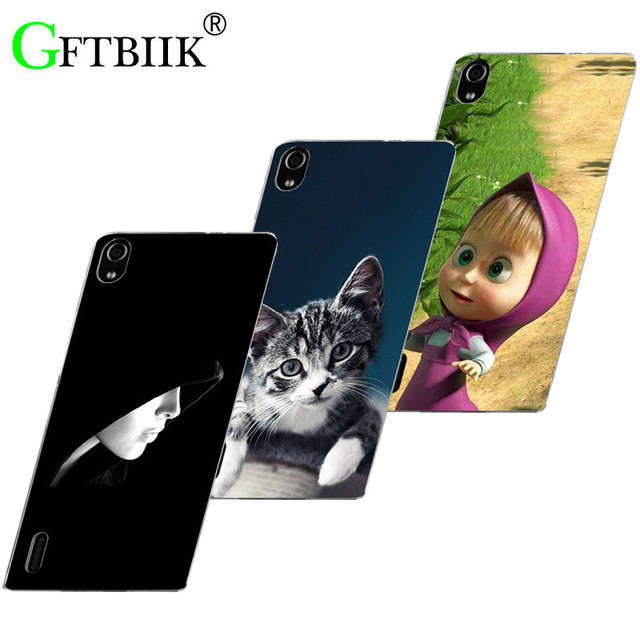 Hot Ultra Thin Back Cover For Huawei Ascend P7 P7-L00 P7-L05 P7-L10 P7-L11 Phone Case Horse Dog Cat Handsome Tiger Fruits Cases