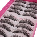 10 Pairs/Set Natural Sparse Cross Eye Lashes Extension Makeup Long False Eyelashes Eye Lashes Professional Makeup Tool
