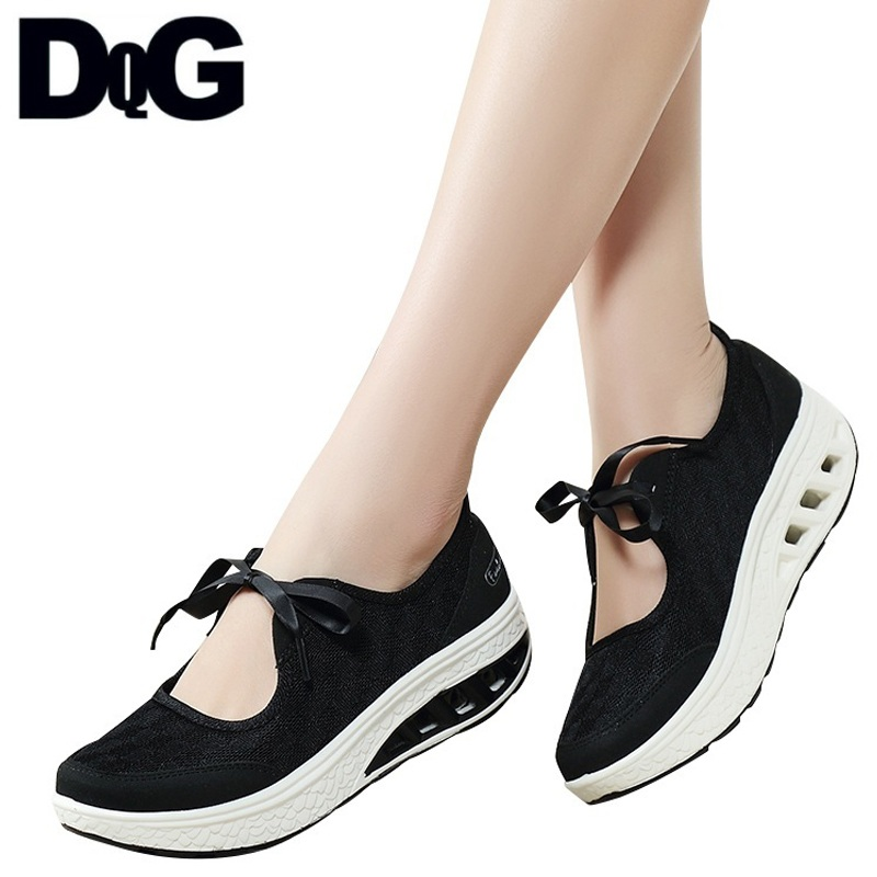 DQG 2018 Summr Women Shoes Flat Platform Mesh Slip On Zapatos Mujer Casual Solid Black Flats Female Shoes Chaussures Femme все цены