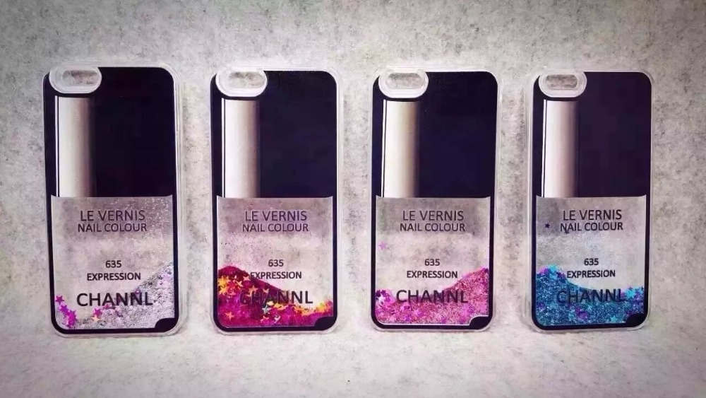 Nail polish bottle case Flow Liquid Glitter Colorful Paillette Sand ...