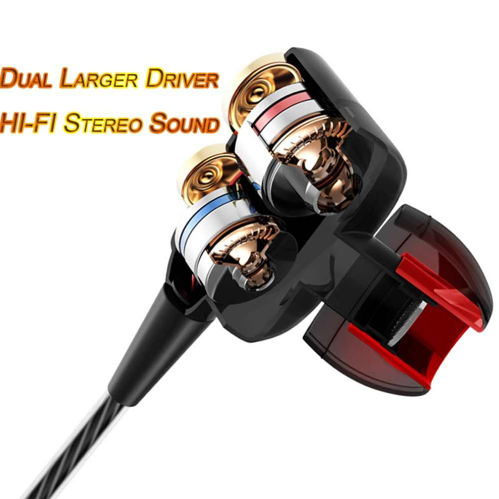 Модные двойные водительские наушники с высоким басом, стерео наушники, гарнитура, спортивные проводные наушники 3,5 мм с микрофоном для Meizu Xiaomi sony