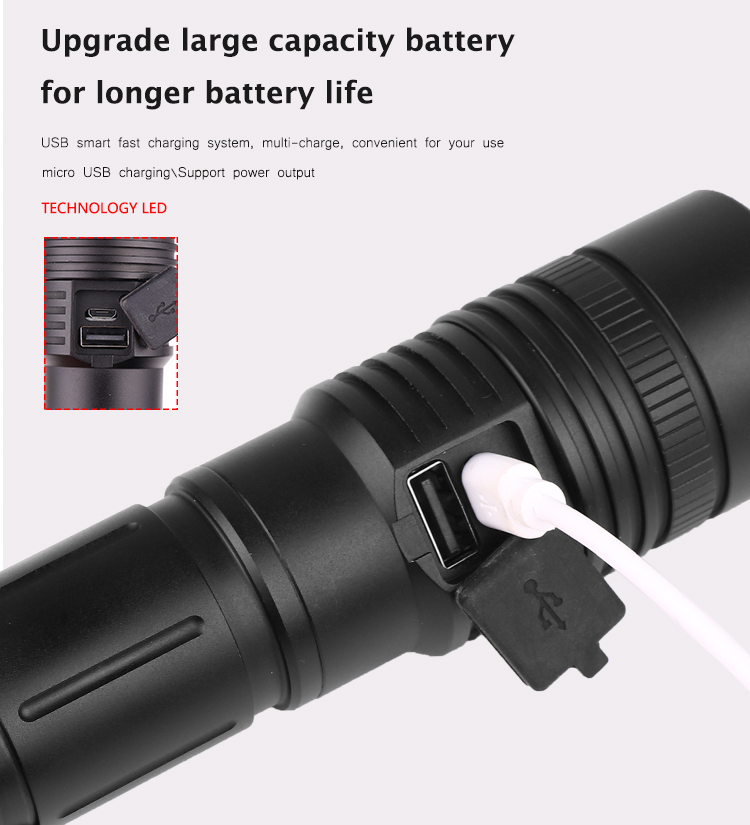 Image 3 - 60000LM Flashlight XHP50 LED Flashlight USB Rechargeable Torch Zoom Flashlight T6 Flashlight Lantern with 18650/26650 Battery-in LED Flashlights from Lights & Lighting