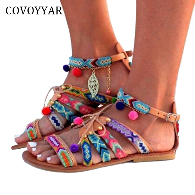 1c96b2f7584b COVOYYAR 2019 Cute Furry Ball Women Boho Sandals Nation Style Lace Up Flat Women  Shoes Summer Buckle Strap Beach Shoes WSS394