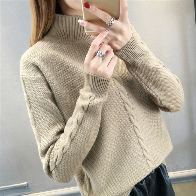 a39cd9c447 Women Turtleneck Winter Sweater Women 2018 spring Long Sleeve Knitted Women  Sweaters And Pullovers Female Jumper Tops LU521