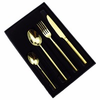 JANKNG Luxury 24K Gold Dinner Set Gift Box Cutlery Polishing Stainless Steel Tableware Dinner TeaSpoon Plated Dinnerware Set
