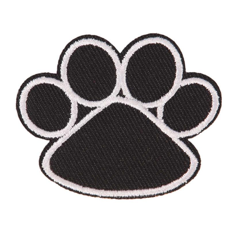 1 шт. милый черный собака Животные след Paw патч железа на вышитые патчи наклейки для детей Костюмы 4,5 см x 5,5 см