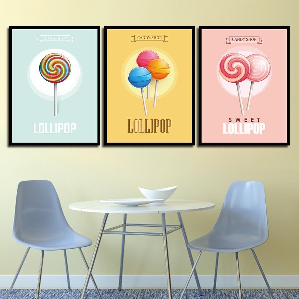 Decoration Nursery HD Prints Nordic Posters Candy Shop Lollipop Wall ...