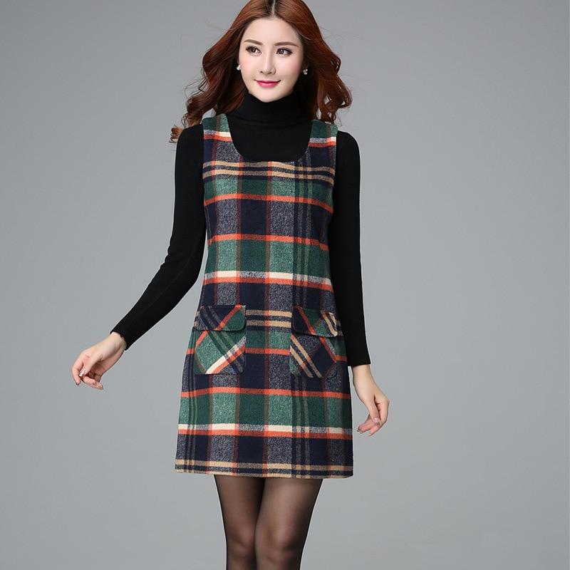 Women's Dresses Winter Women's Plaid Vest Plus Size Dress Primer Slim Sleeveless Wool Vest Dresses Female Grid Sundress