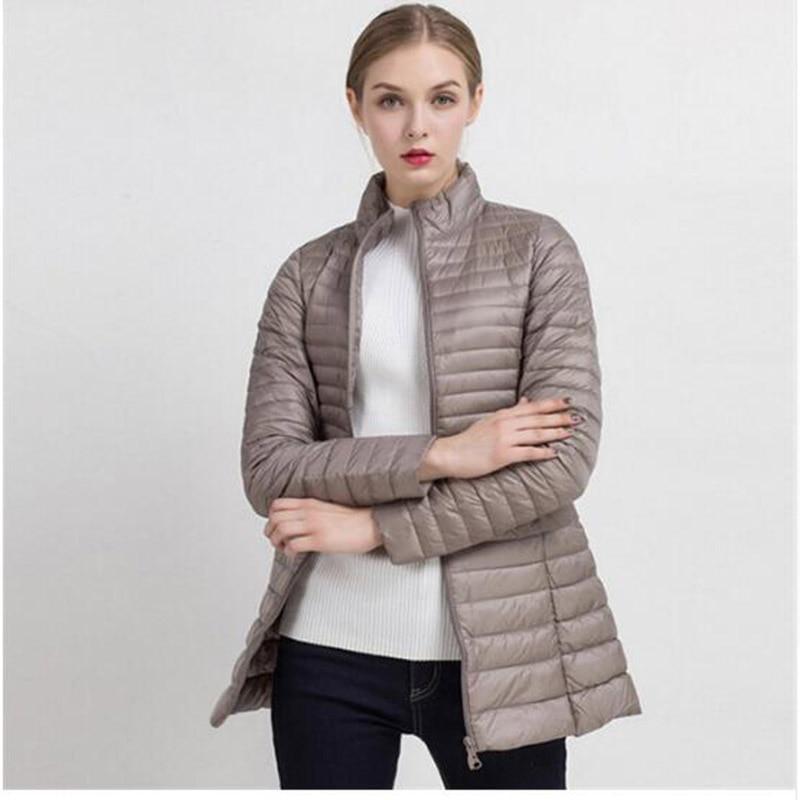 2018 Spring Autumn Ultra Light thin   down   jackets 90% white duck   down     coat   women's medium long slim jacket outerwear AC427