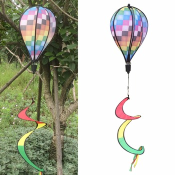 Summer Colorful Grid Windsock Hot Air Balloon Wind Spinner Garden Outdoors Spinner Yard Decorative Stakes Wind Spinners