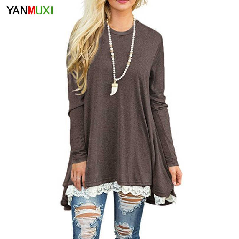 Повседневные S-2XL женские длинные футболки 2017 кружева сшивание Твердые свободные рубашки с длинным рукавом О-образным вырезом черный весна осень женщин Топ тройник
