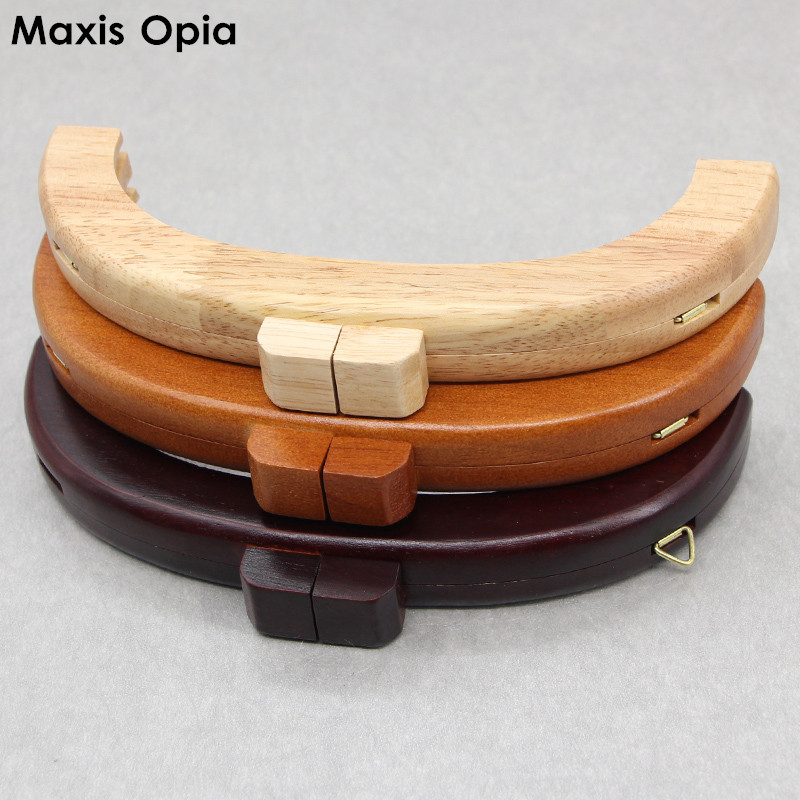 1 Piece Solid Wood 20 Cm Brown Nature Wooden Coin Purse Clasp DIY Accessories Obag Handle Wood Purse Bag Frame Kiss Lock Handle
