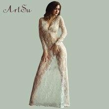 Макси Плюс Размер Женщин Длиной до пола Черный Белый Осень Кружевном Платье Настроить Талии Sexy See Through Цветочные Vestido DR5046
