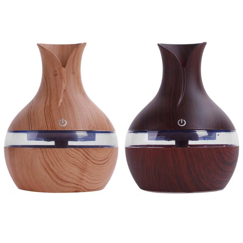 Wood grain Oil Diffuser Ultrasonic Air Humidifier Cool Mist maker USB Intelligent Induction Touch with 7Color LED Light