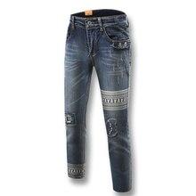 Мода джинсовые брюки печатных джинсы летний стиль полная длина череп картина 2016 джинсы панк стиль нищий уменьшают подходящие джинсы мужчин брюки