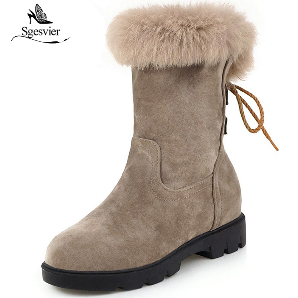 Sgesvier Womens Winter Snow Boots Shoes Ankle Boots for Women Warm Winter Footwear Wedges Heel Boots fur Inside Plus Size 33-43Sgesvier Womens Winter Snow Boots Shoes Ankle Boots for Women Warm Winter Footwear Wedges Heel Boots fur Inside Plus Size 33-43