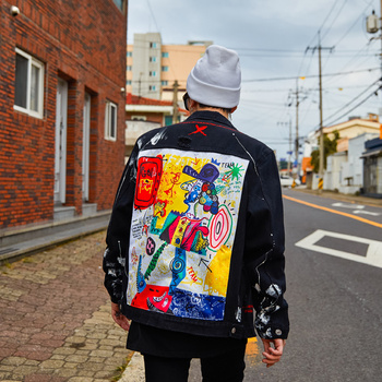 Men's Hip Hop Denim Jackets Oversized Graffiti Painted Jeans Jackets Male Brand Ripped Coat Streetwear