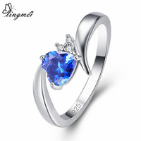 lingmei New Valentine Gift Heart Cut Multicolor Blue White CZ Silver Color Ring Size 6 7 8 9 Romantic Lovers' Jewelry Wholesale