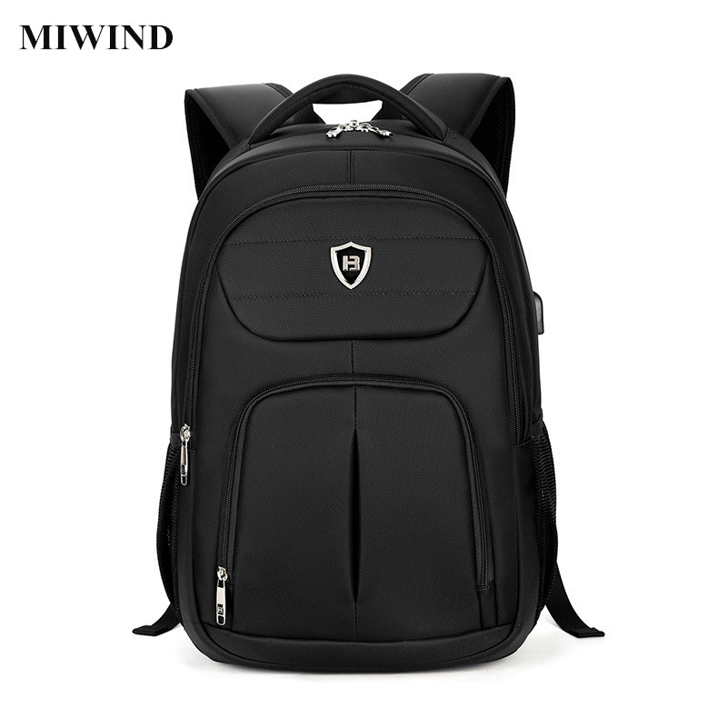 ФОТО MIWIND Mens Business Backpack Black 15.6inch Laptop Backpack Computer Bag Waterproof Anti-theft Travel Back Pack School Bags