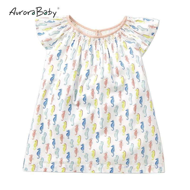 2018 New Summer Girls Cartoon Hippocampi Printing T-shirt Cotton Ruffle Sleeve Girl Tee Tops Toddler Baby Girls Tshirt Clothes