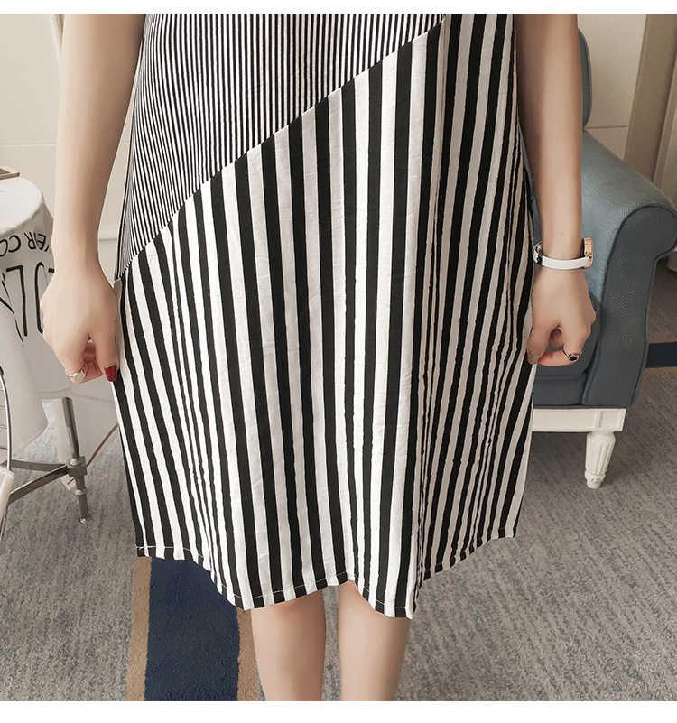 Кормящих платье для женщин летние полосатые Лоскутные халат для кормящих женщин для кормления для беременных Беременность Одежда плюс размеры Мода
