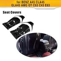 Carbon Fiber Gloss Matt Seat Back Backseat Trim Covers fit for Mercedes Benz A45 CLA45 GLA45 AMG GT C63 C43 E63 12 18 4 PC/Set
