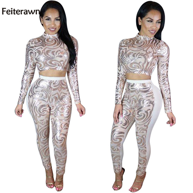 Feiterawn 2017 Women Summer Patchwork Mesh Black Gold Sequin Long Sleeve Party Two Piece Pants Sets Club Wear Outfit OS5031