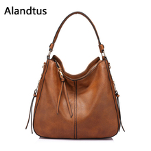 Alandtus Crossbody Bags For Women Shoulder Bag 2019 Casual Vintage Soft Leather Handbag Ladies Messenger Bag Bolsa Feminina цена в Москве и Питере