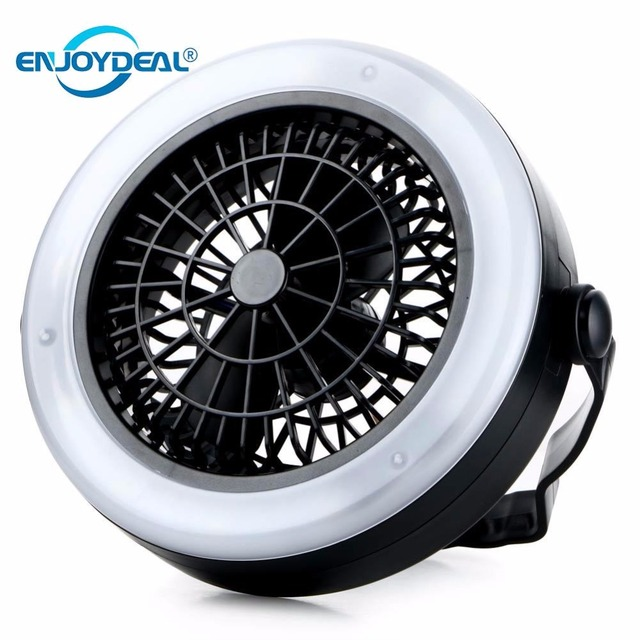 Portable Rechargeable Led Fan Light Mini Air Cooler Outdoor Camping Tent Lamp Hanging Hook Lantern Usb