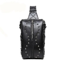 New Arrival Trendy Style Men Rivet Chest Pack Fashion PU Leather Crazy Horse Leather Packets Chest