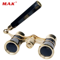 Opera Theater Glasses 3x25 Brass Coated Lens Binocular Telescope In White Red Black With Handle Glasses