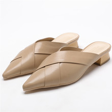 basic Women Slippers Flock Bowtie Female Mules Fashion Low Heels Shoes Pointed Toe Ladies shoes sandals outside tips Flip Flops цена 2017