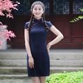 Navy Blue Traditional Chinese Women Short Qipao Dress Summer Cotton Linen Cheongsam Elegant Slim Dresses S M L XL XXL 2610-1