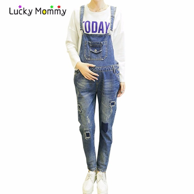 Queda Primavera Maternidade calças de Brim Macacão para Mulheres Grávidas Plus Size Azul Denim Macacão Calças de Gravidez Maternidade Roupas Premama