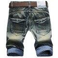2017 Летний стиль Джинсы мужские шорты случайный прилив мужской Тонкий Короткие джинсы, мужские брюки проката край Лоскутное джинсовые шорты homme