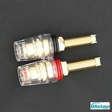 Terminais alongou Ouro Puro Cobre-banhado Crystal Habitação para Alto-falantes 25mm Espessura da Placa Gabinete Amplificadores de Vermelho e Preto