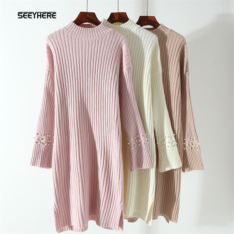 SEEYHERE sweater dress Pearl Beaded flared sleeves dress half high collar knitted Dress connected seamed half sleeves flared ponte dress eggplant 6