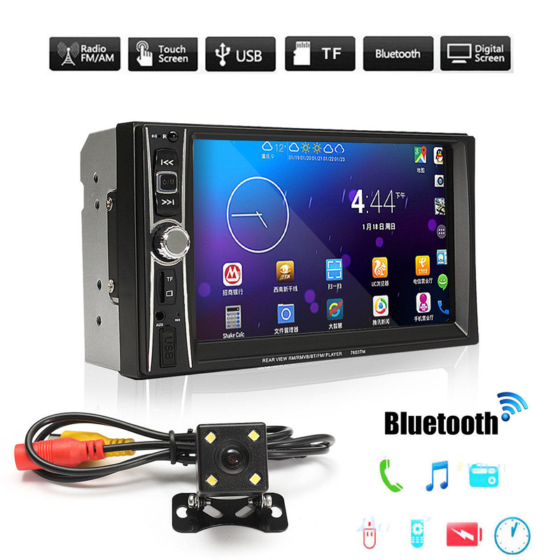 7inch Car MP5 Video Player Kit 7012B Bluetooth Touch Screen Audio Stereo Rearview Camera Multimedia FM/MP5/USB/AUX 12V Auto цена 2017