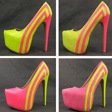 2014 neue frauen schuhe neonfarbe patchwork samt 16 cm ultra high heels plateauschuhe 35-45