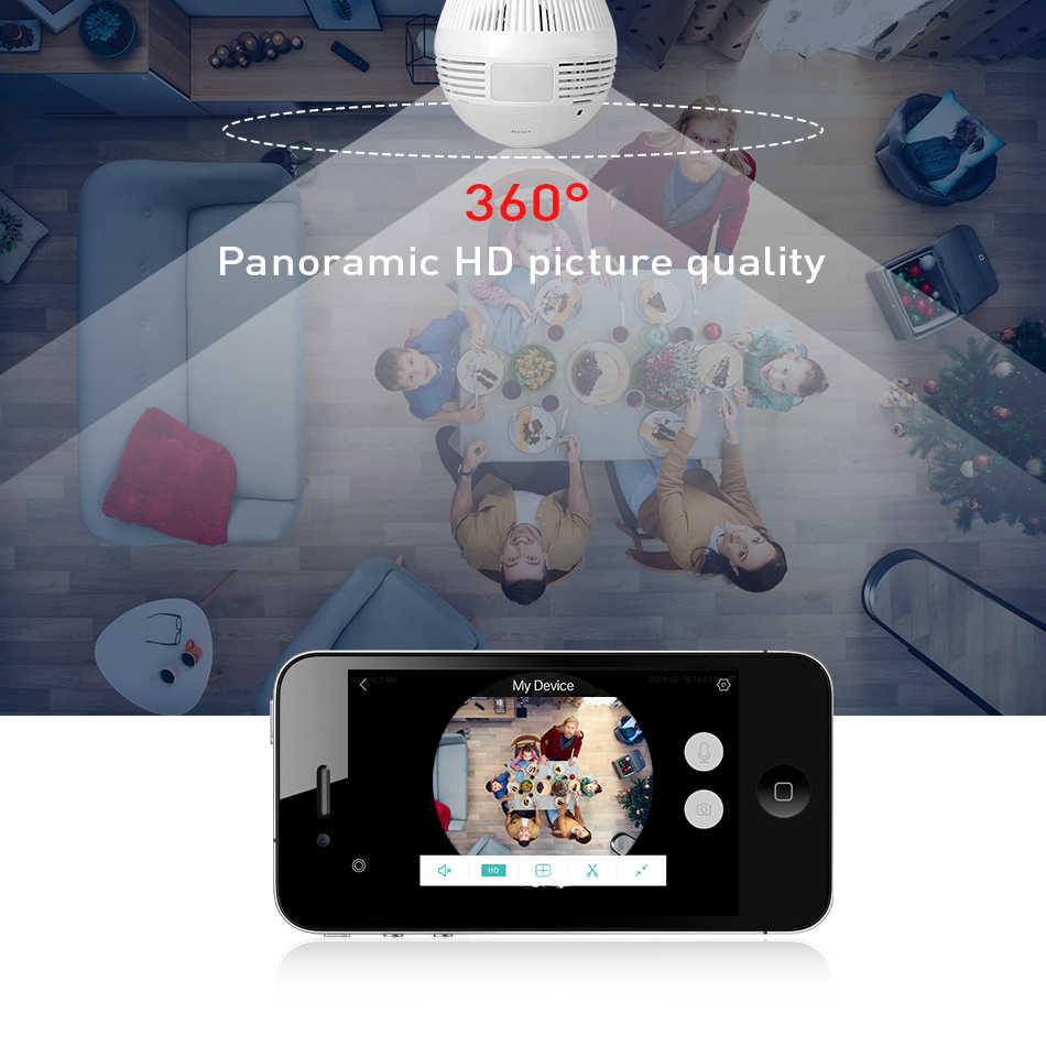 Hiseeu หลอดไฟแบบไร้สายกล้อง IP Wi - Fi FishEye 960 P/3MP 360 องศา VR กล้องวงจรปิด 1.3MP Home Security กล้อง WiFi Panoramic