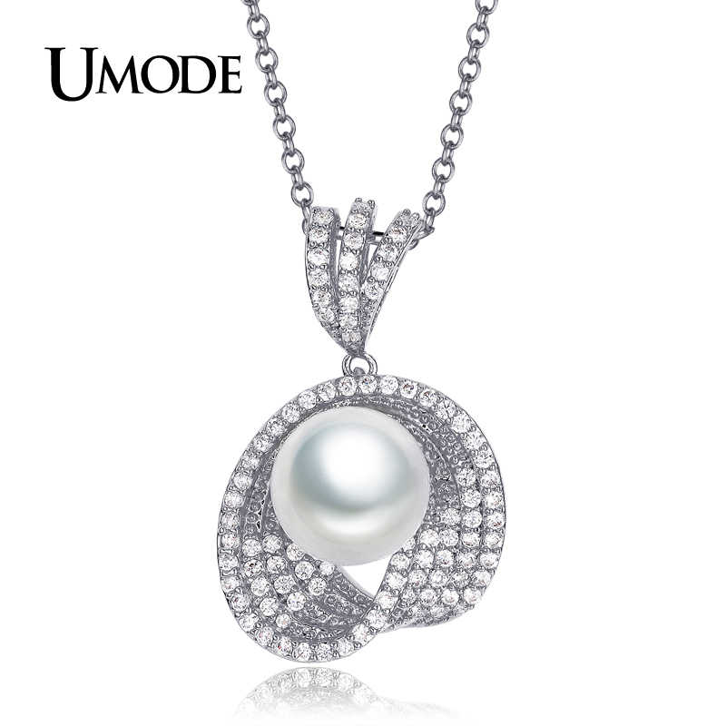 UMODE Brand New Simulated-pearl Jewelry Sets For Women Fashion Round CZ Cystal Necklace and Earrings Jewelry Sets Bijoux US0040B