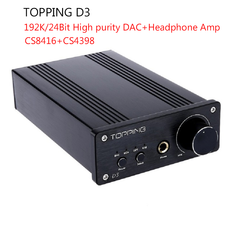 Topping D3 Portable Mini DAC 24Bit/192kHz USB Optical Coaxial BNC CS8416+CS4398 Headphone Amp Amplifiers With Power Supply Black