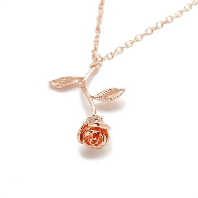 2018 New Pink Gold Rose Flower Statement Necklace Women Charm Maxi Choker Boho Valentine's Day Jewelry 3
