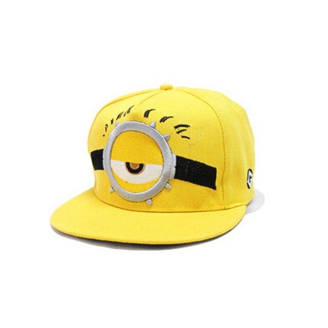 Moda de nova Minions adultos chapéu tampa plana ao longo do boné de  beisebol cap hop 92a787e4977