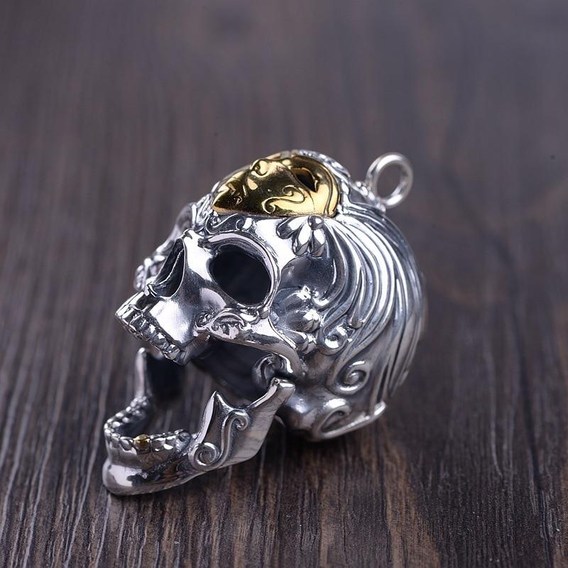 Серебро восстановление древних способов процесс мужская маска для лица Череп Кулон может открыть рот тайский серебряный оптовая продажа - 2