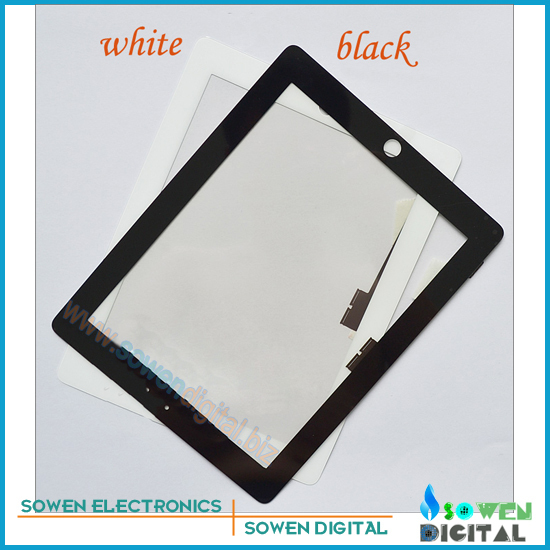 for iPad 4 Touch screen digitizer Touch panel White or Black,100%  new,1set 3M adhesive Free