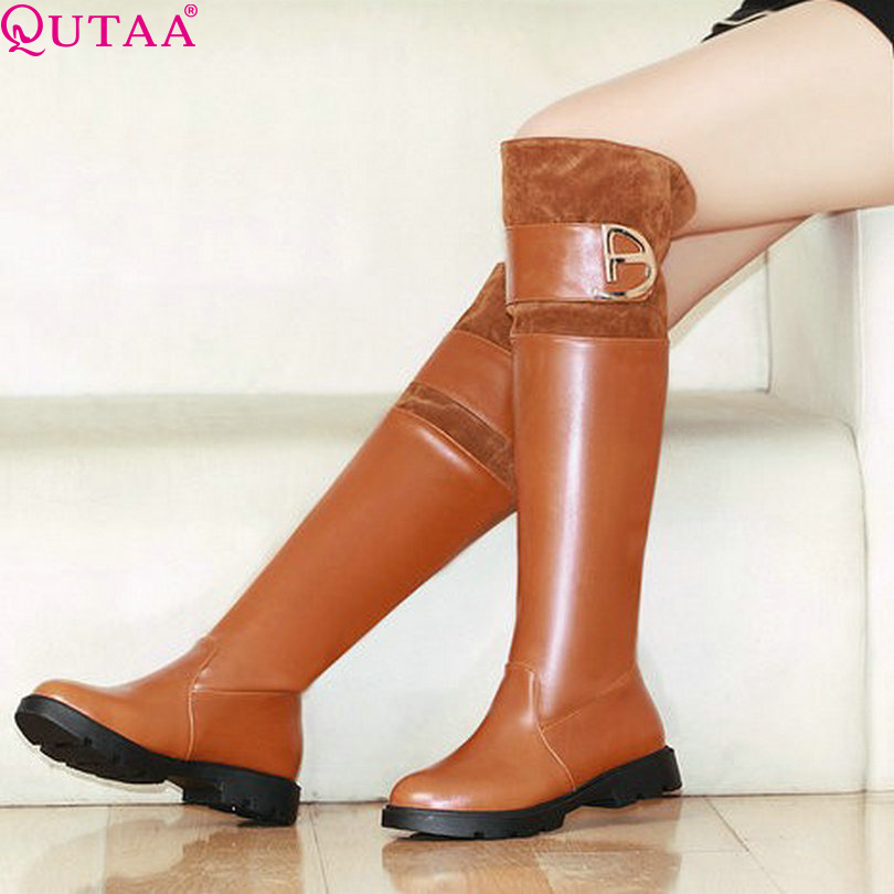 ФОТО QUTAA Fashion Sexy Platform Knee High Casual Winter Autumn Shoes Women's Motorcycle Boots Wedding Snow Boots Size 34-42